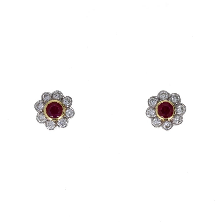 Modern 18 Carat Gold Round Ruby Diamond Daisy Cluster Earrings