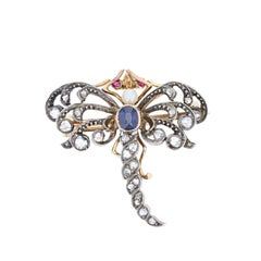 Antique Victorian Natural Pearl Sapphire Diamond Dragonfly Brooch