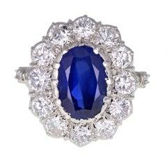 1950s Buccellati Unheated Burma Sapphire Diamond Cluster Ring