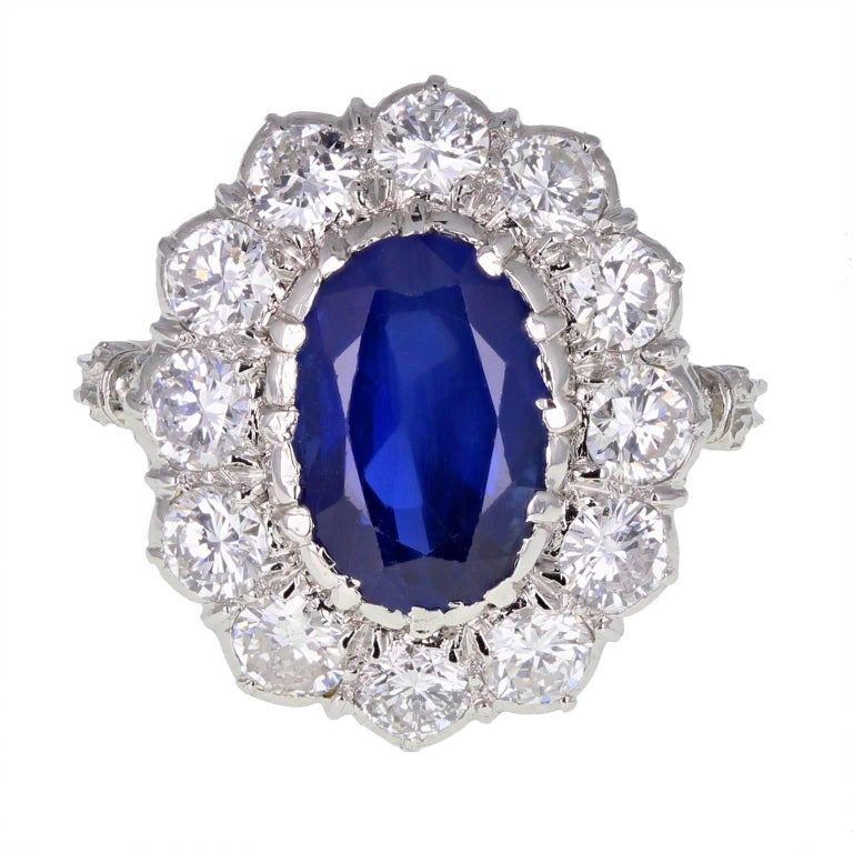 1950s Buccellati Unheated Burma Sapphire Diamond Cluster Ring For Sale
