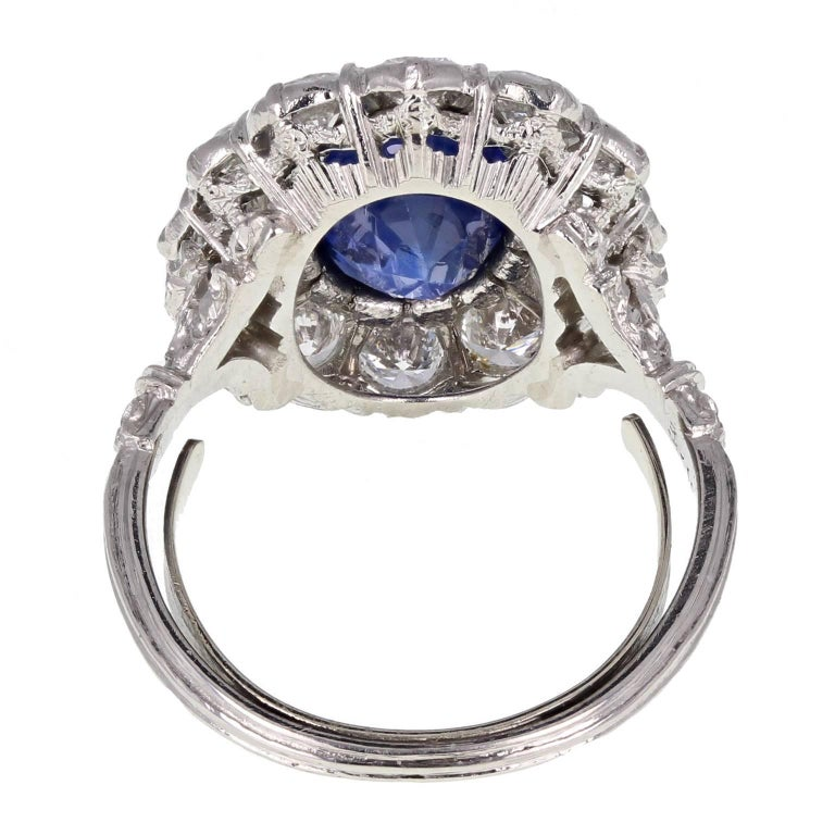 Oval Cut 1950s Buccellati Unheated Burma Sapphire Diamond Cluster Ring For Sale