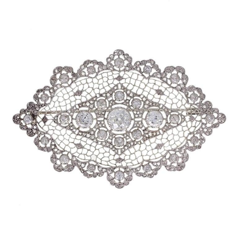 1930s Buccellati Diamond Lace Brooch For Sale