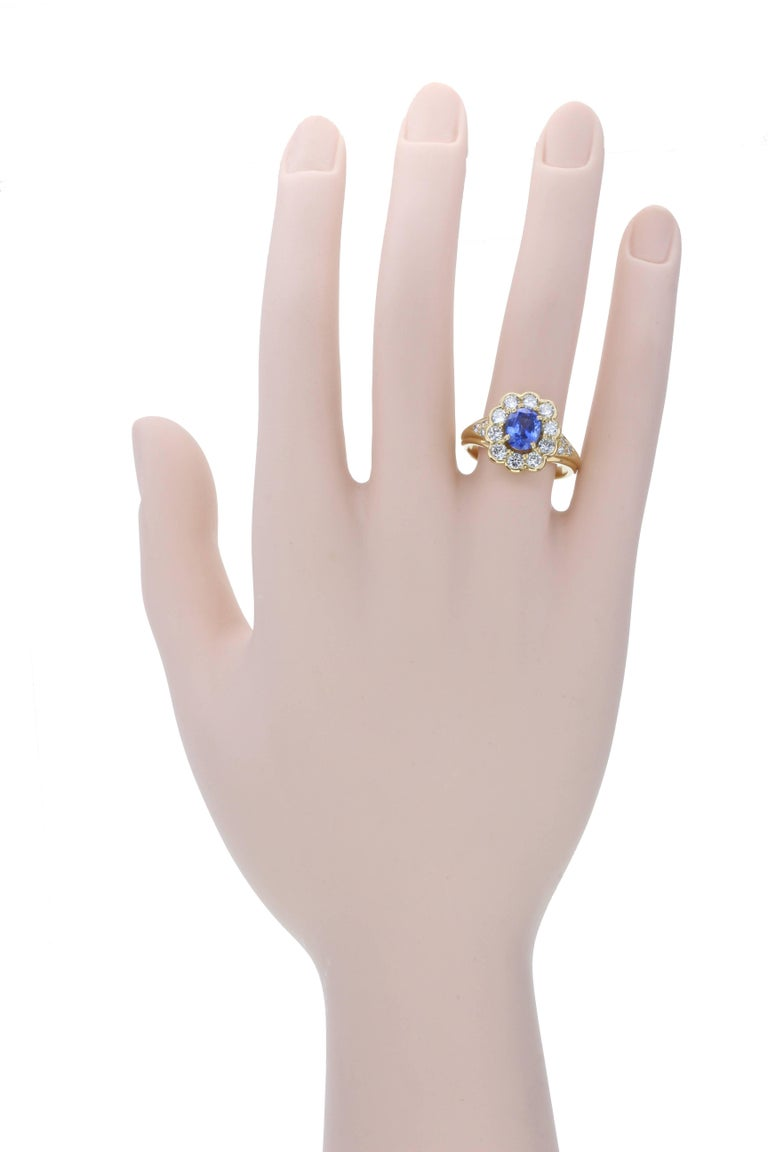 Oval Cut Blue Sapphire Diamond Oval Cluster Gold Ring For Sale