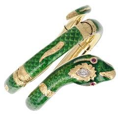18 Carat Gold Green Enamel Diamond Ruby Serpent Snake Bangle