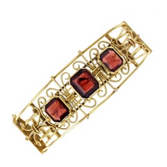 Antique Victorian 15 Carat Gold Garnet Bangle