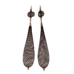 Antique Victorian Hairwork Mourning Gold Earrings