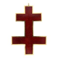 18 Carat Gold Enamel Cross of Lorraine past Preceptor Knights Templar Pendant