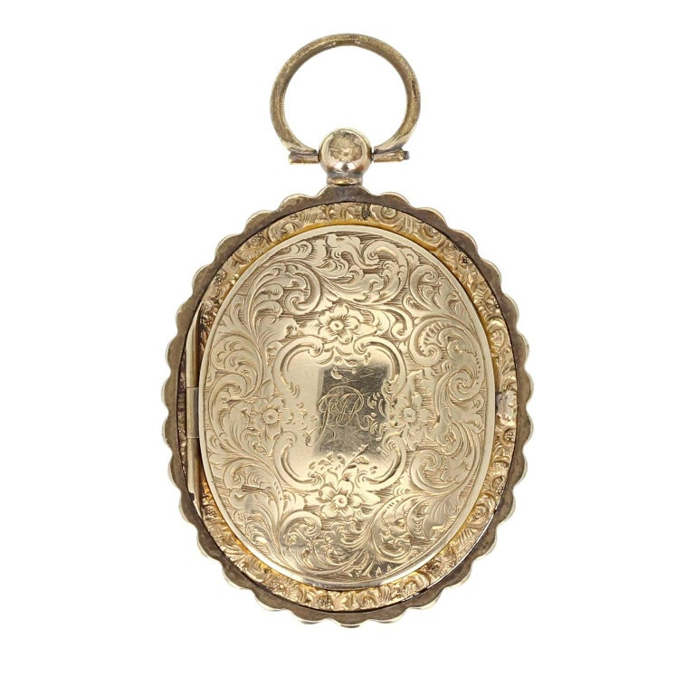 Gold Back and Front Antique Victorian Portrait Mourning Locket