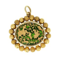 Antique Victorian 18 Carat Gold Chinoiserie Pendant