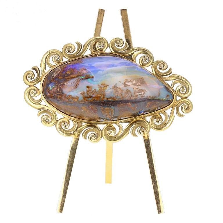 18 Carat Gold Mounted Boulder Opal Specimen with 18 Carat Gold Easel Stand