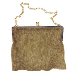 1920s French Gold Calibre Sapphire Set Purse