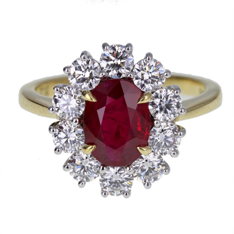 Burma Ruby Diamond 18 Carat Gold Cluster Ring For Sale
