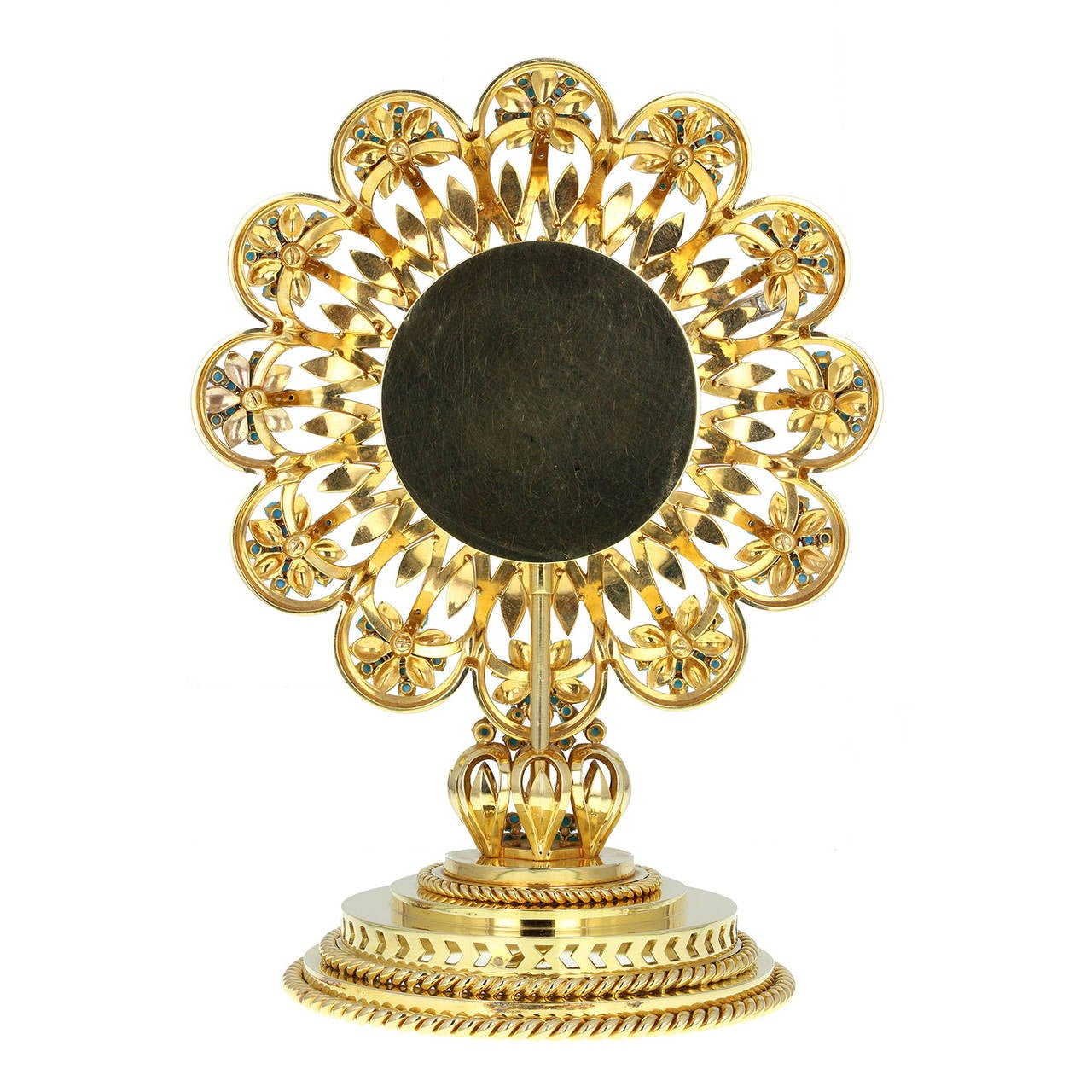 18ct gold in the form of a flower, the pierced dial set with turquoise beads forming the numerals, the hands set with diamonds, centred with sapphires and a garnet, on a pierced stem with rope-twist borders. French 3e titre post-1838, signed