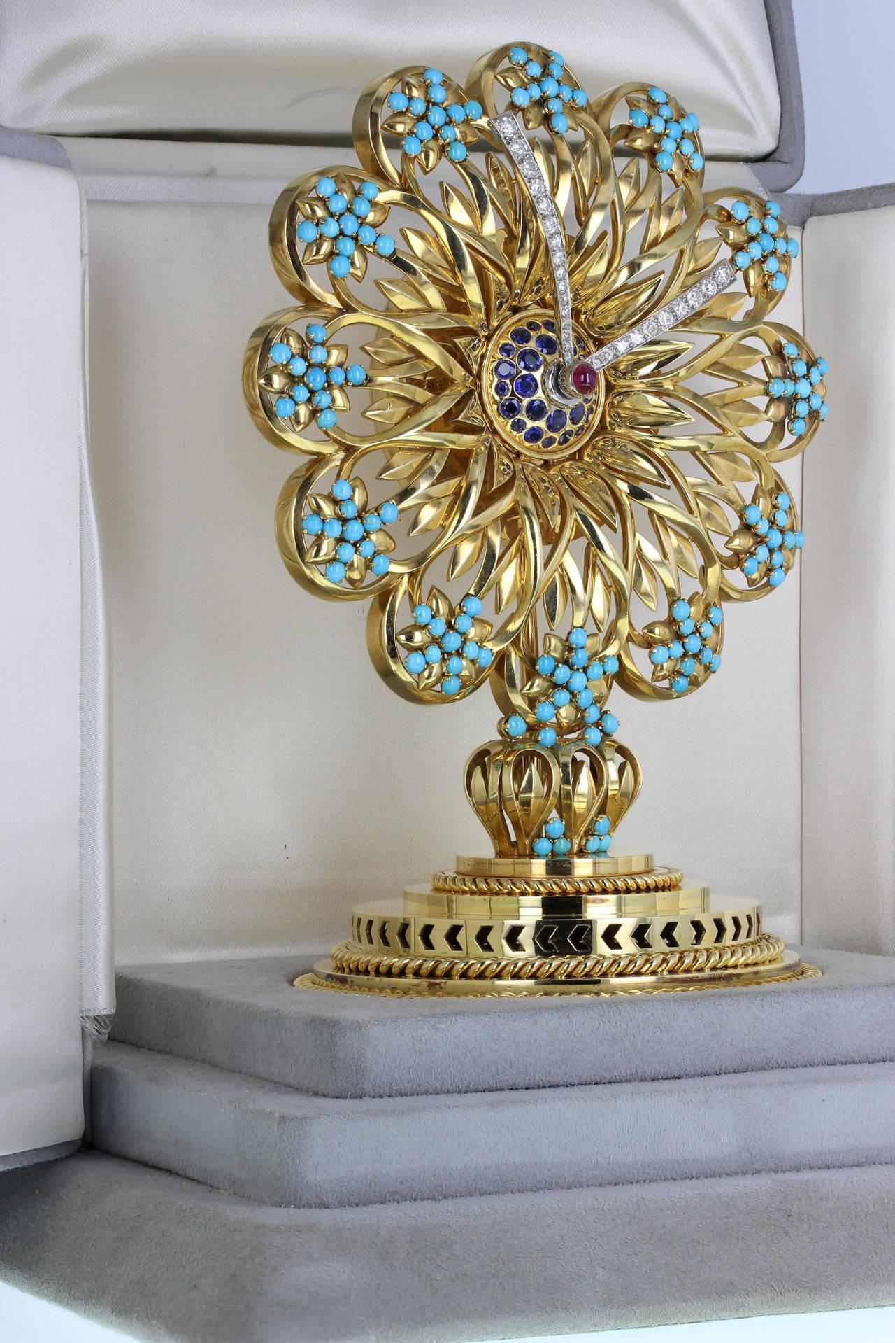 Modern Important Boucheron Imperial Iranian Presentation Gem Set Gold Clock 1955