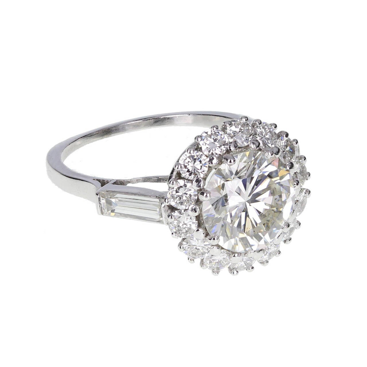Two Platinum: 2.50 Carat Halo Set Diamond Platinum Solitaire Ring At 1stdibs