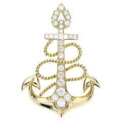 Cartier Diamond Gold Nautical Anchor Brooch