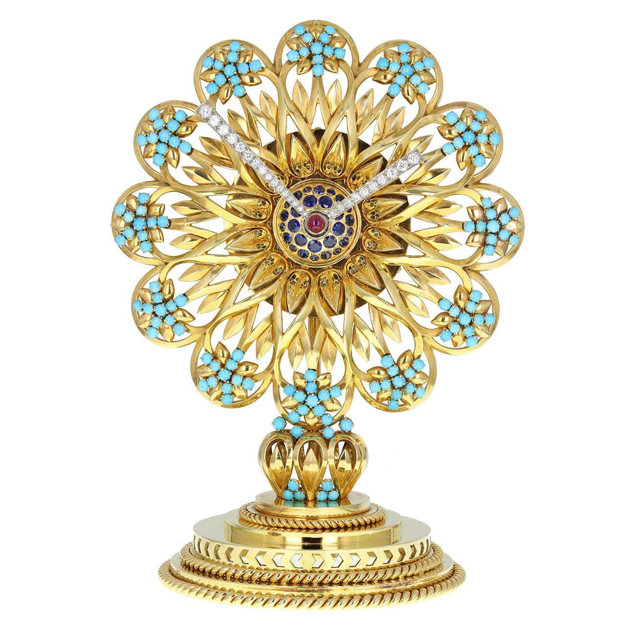 Important Boucheron Imperial Iranian Presentation Gem Set Gold Clock 1955
