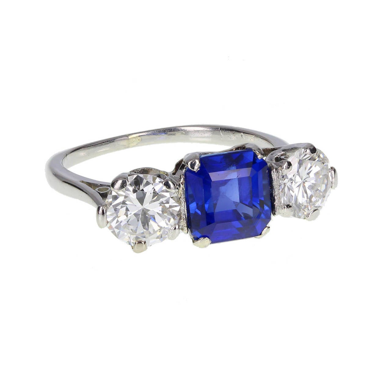 Square Cut Burma Sapphire Diamond Platinum Three Stone Ring 2
