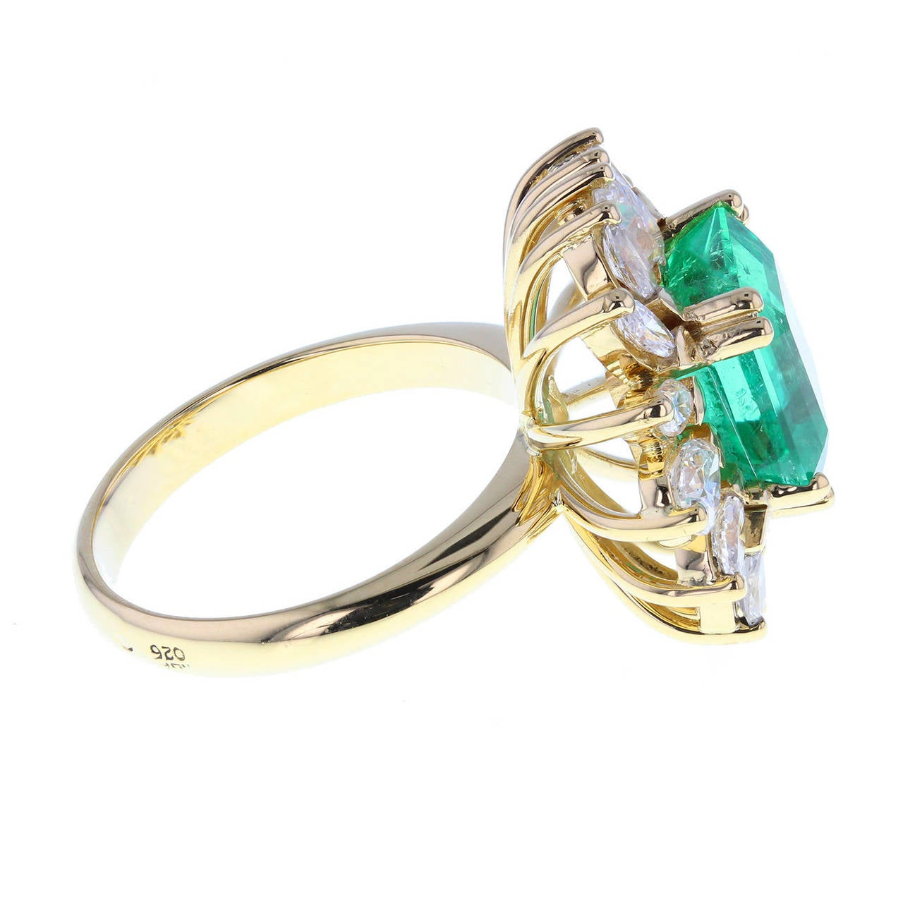 emerald and marquise cut cluster ring for sale at