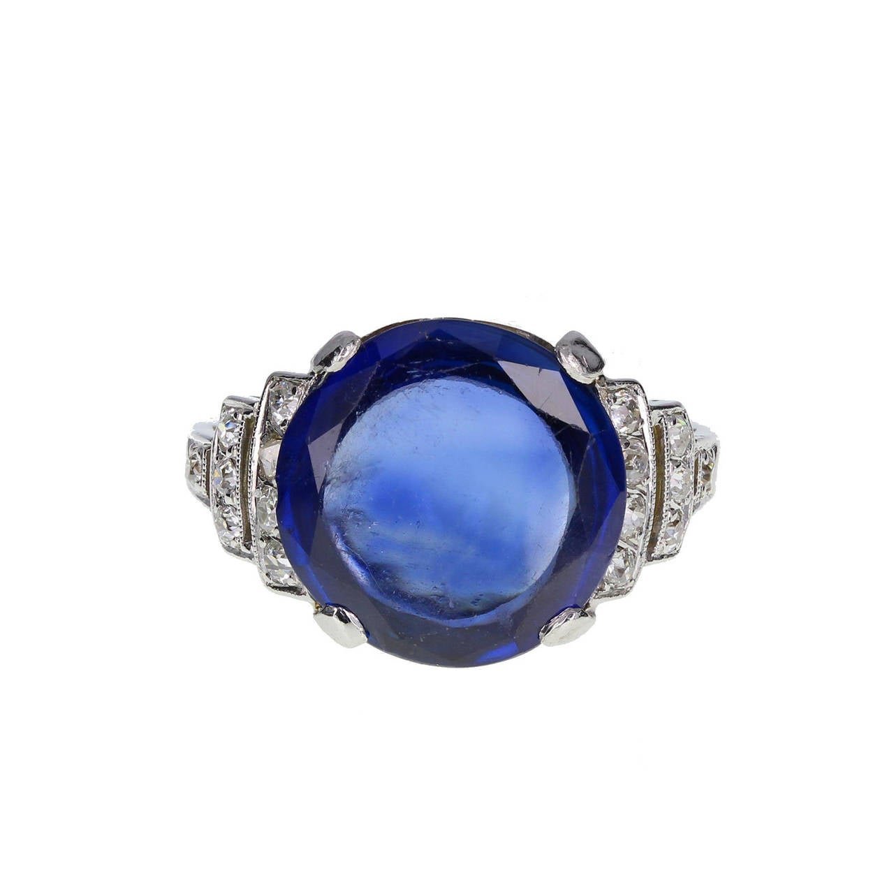 Art Deco Fancy Cut 6.21 Carat Sapphire Diamond Platinum Ring