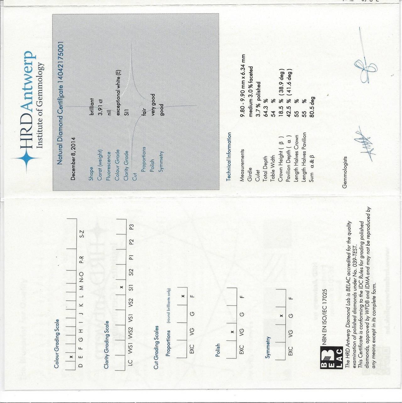 Boucheron 3.91 Carat Brilliant-Cut Diamond Platinum Engagement Ring For Sale 1