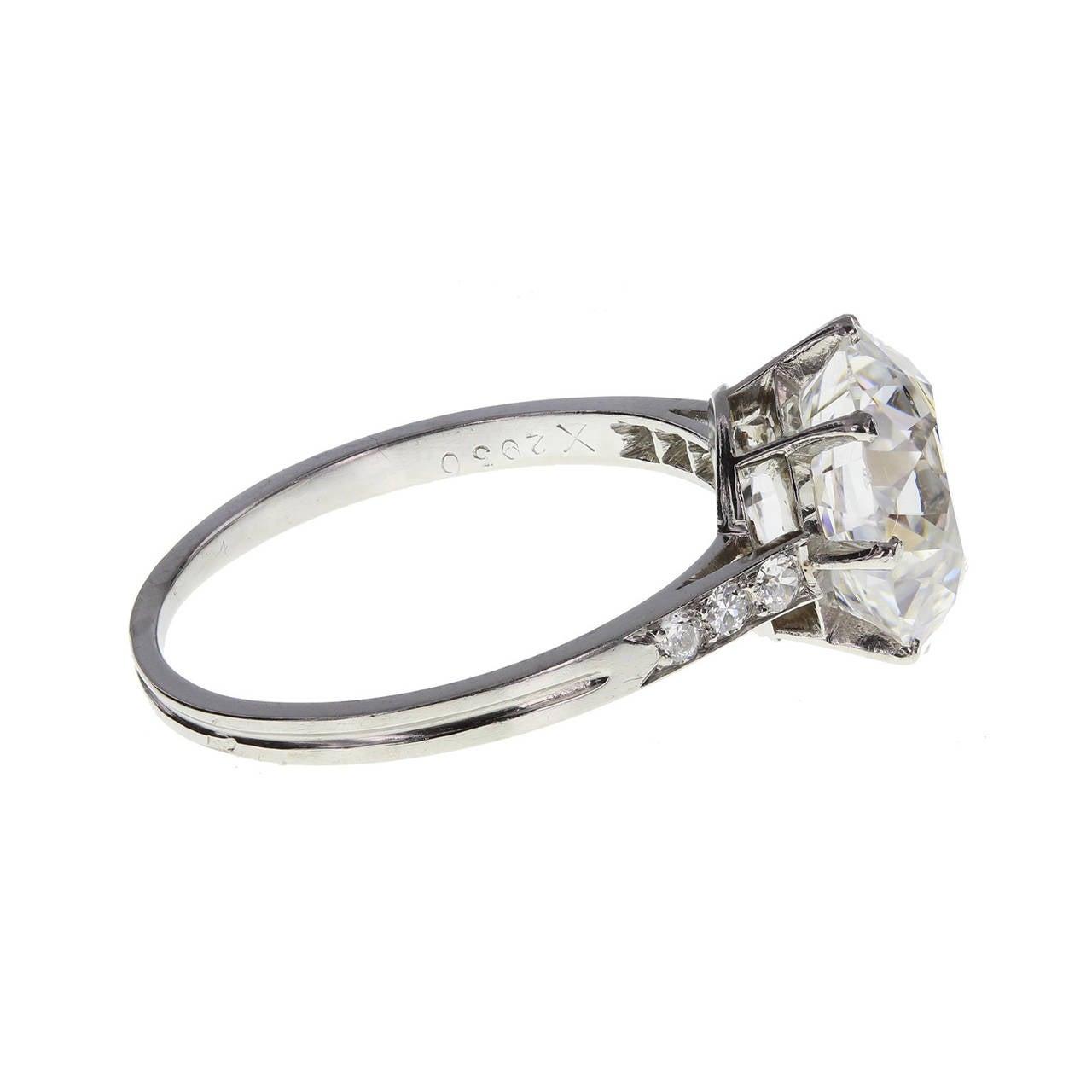 Edwardian Boucheron 3.91 Carat Brilliant-Cut Diamond Platinum Engagement Ring For Sale