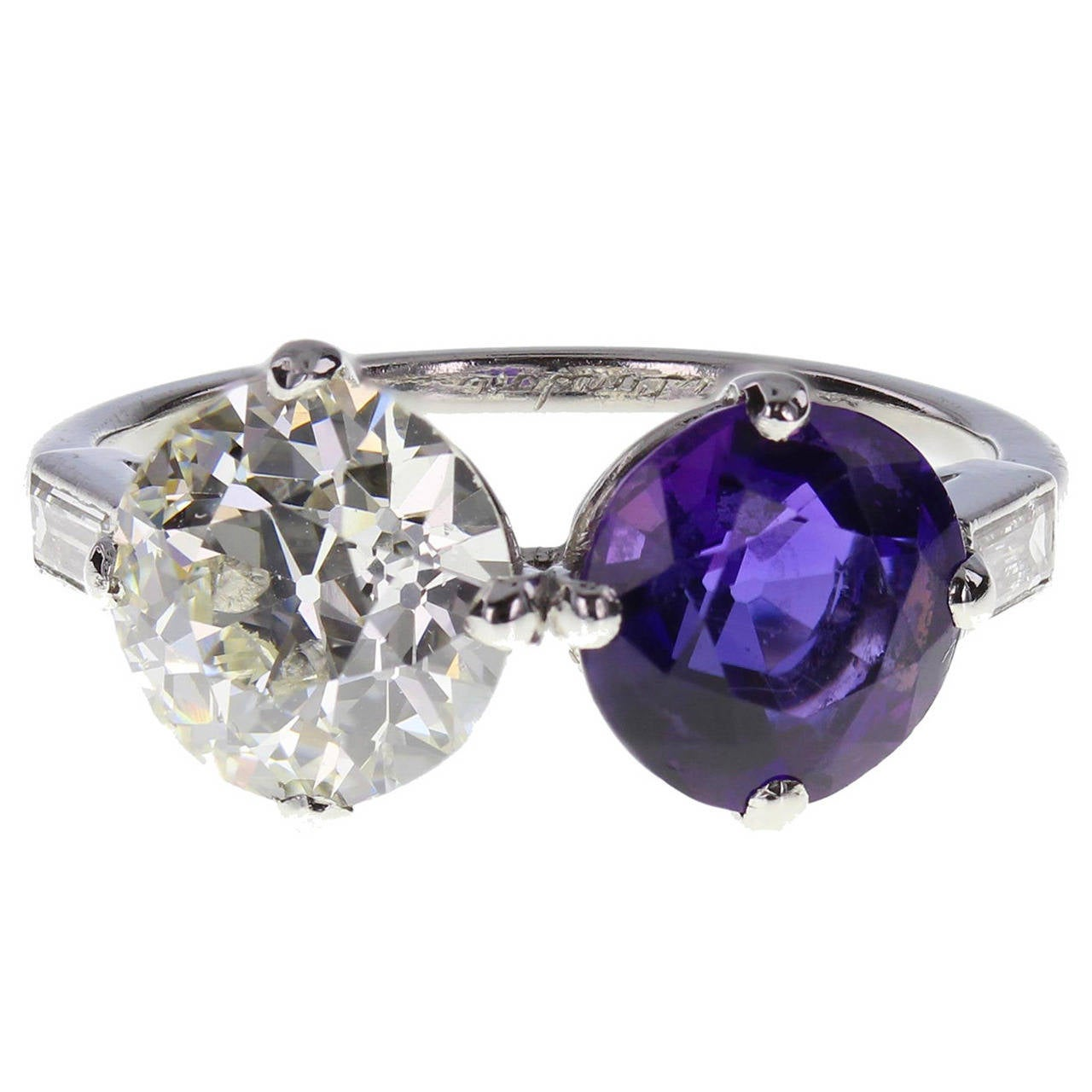 1920s cartier amethyst platinum two ring