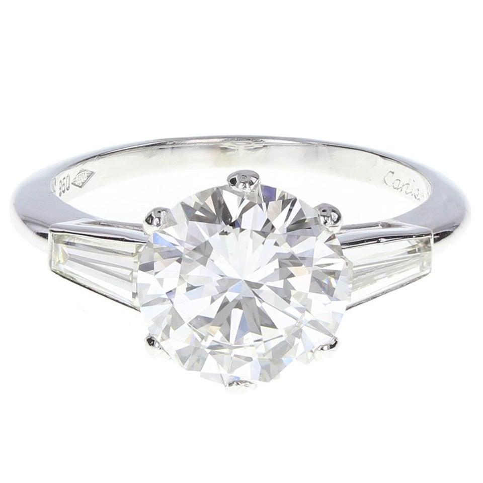 Cartier 2 05 Carat GIA Cert Diamond Platinum Solitaire Ring at 1stdibs