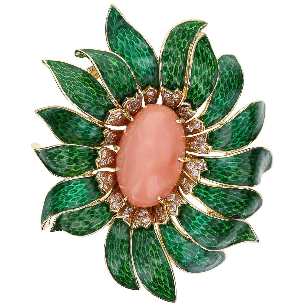 Van Cleef & Arpels Enamel Coral Diamond Flower Pendant/Brooch For Sale