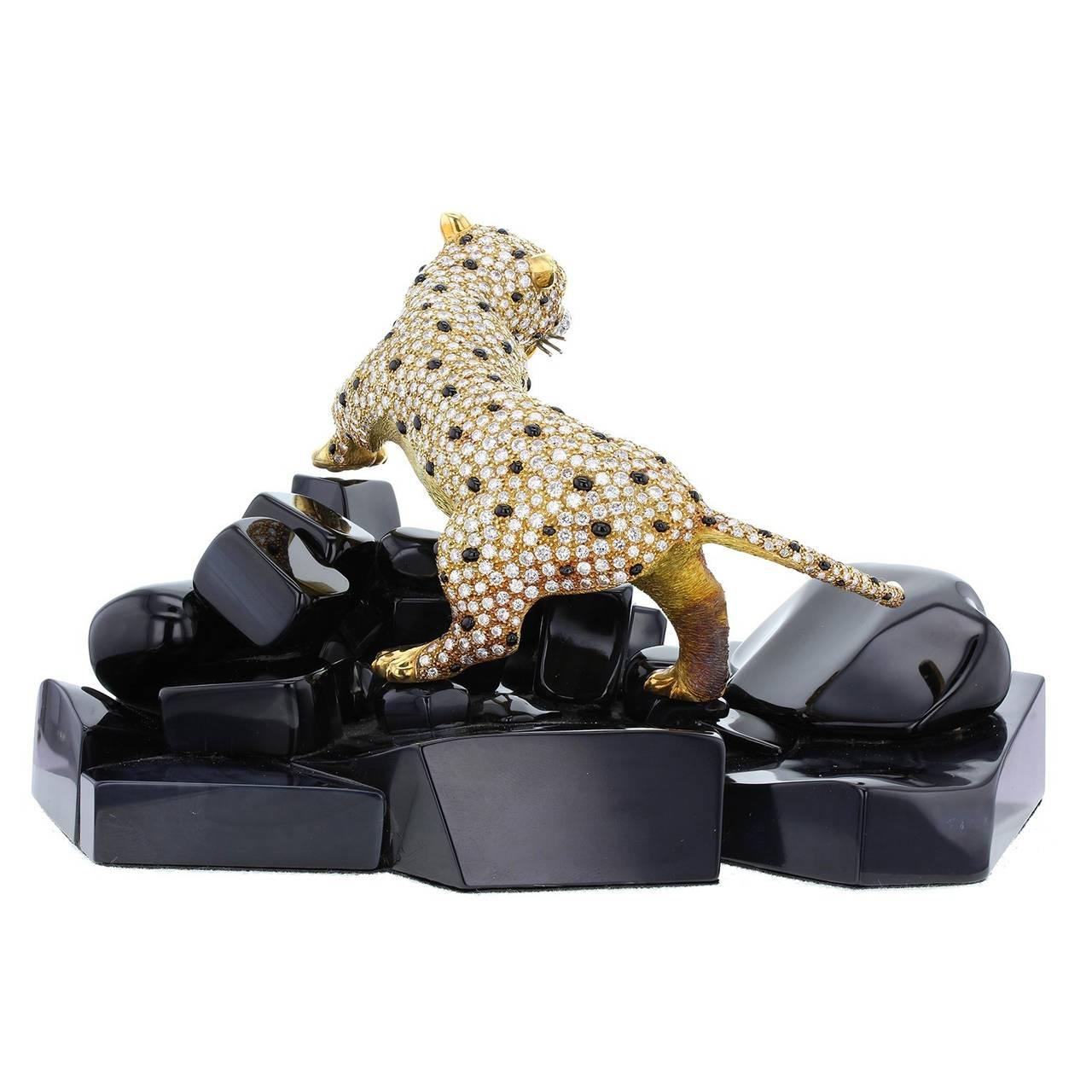 Modern Diamond Emerald Ruby Gold Panther Onyx Rock Objet D'Art For Sale