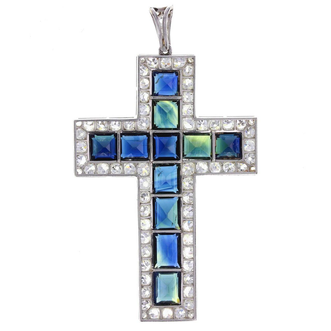 Antique Blue Sapphire and Diamond Cross 2