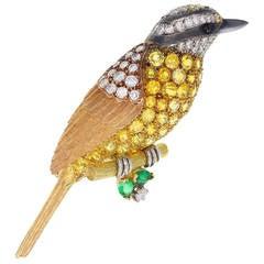 Fine Yellow Sapphire Diamond Gold Bird Brooch
