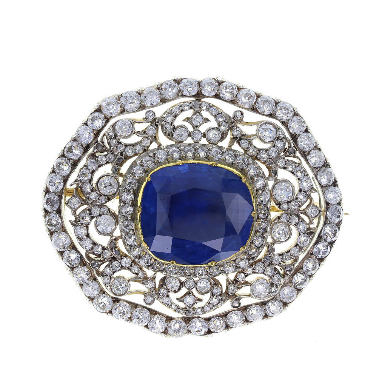 Edwardian Ceylon No Heat Sapphire Diamond Silver Gold Brooch