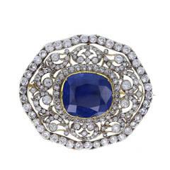 Edwardian Ceylon No Heat Sapphire Diamond Silver Gold Brooch