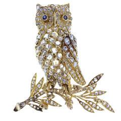 Jean-Claude Champagnat Sapphire Diamond Gold Owl Brooch