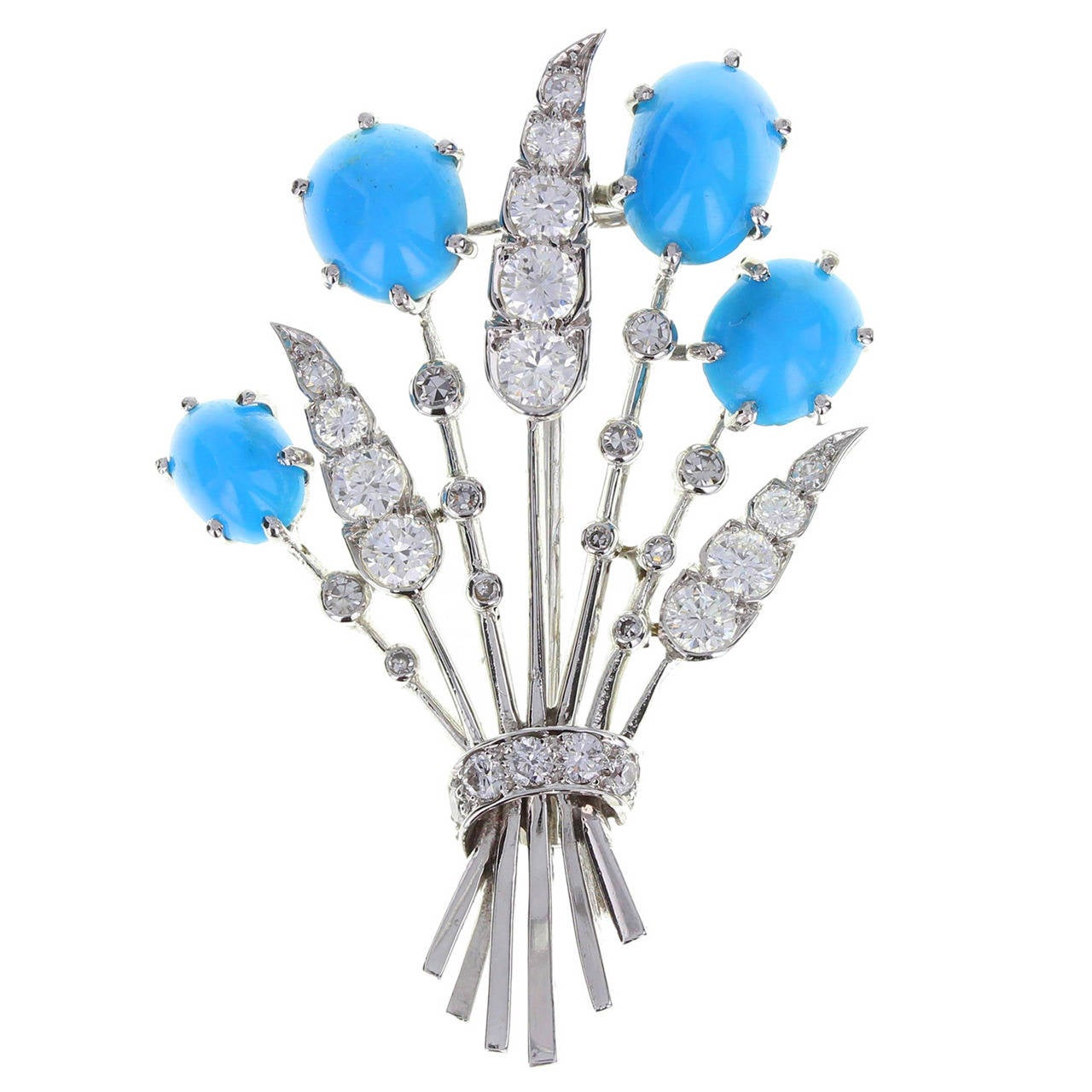 Cartier Turquoise Diamond Gold Floral Spray Brooch