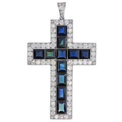 Antique Blue Sapphire and Diamond Cross