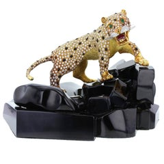 Diamond Emerald Ruby Gold Panther Onyx Rock Objet D'Art