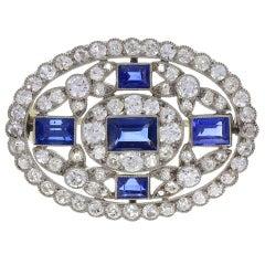 Edwardian Blue Sapphire Diamond Platinum Oval Brooch