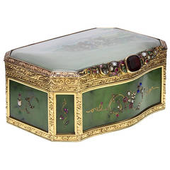 Rare and Important Nephrite Gold Box with Napoleonic Cossack Painted Scene