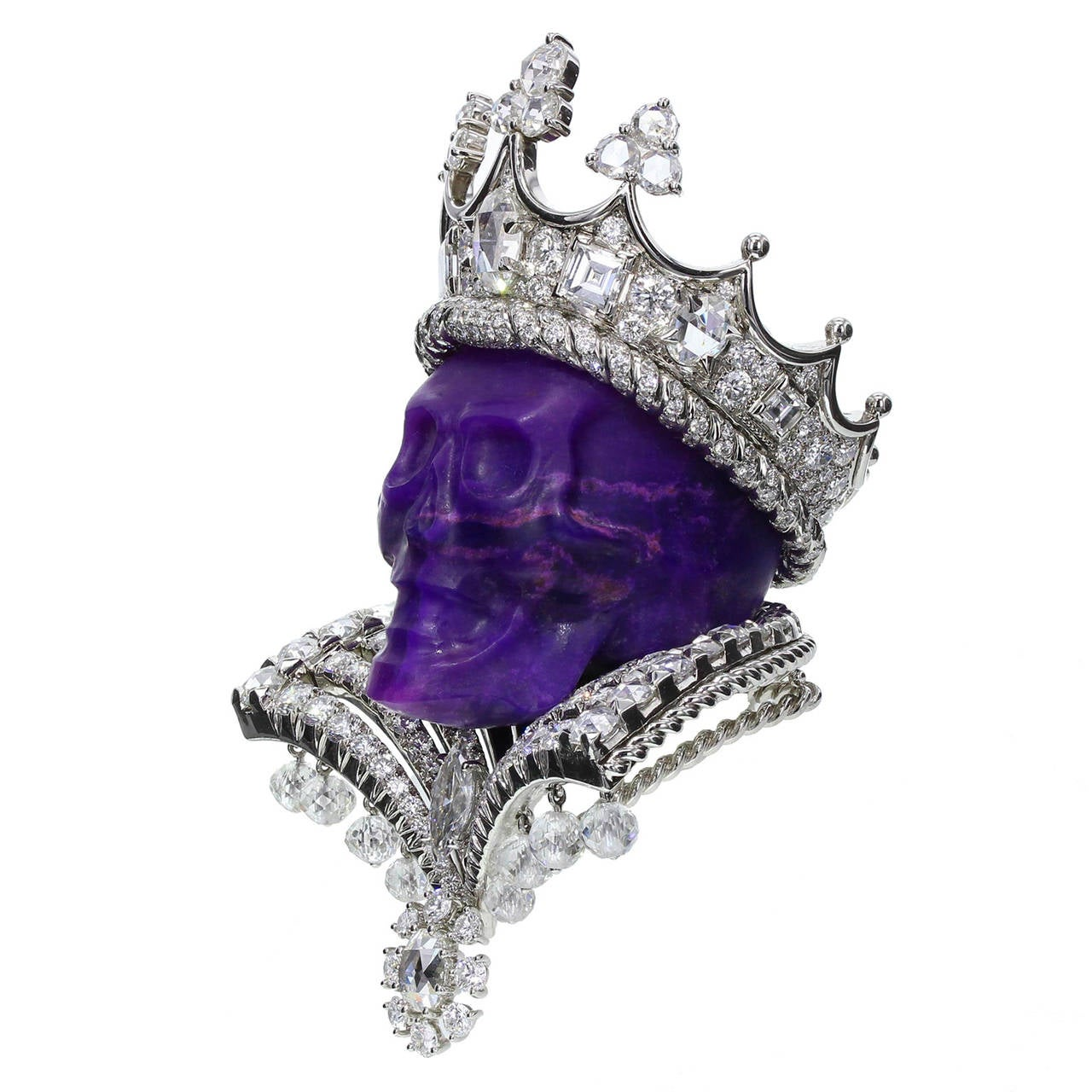 'King of Sugilite' pendant in platinum, white gold, diamond and sugilite by Dior Joaillerie, designed by Victoire de Castellane. Part of the 2009 Reines et Rois Haute Joaillerie collection of 20 one-of-a-kind pieces, featuring ten queen rings and