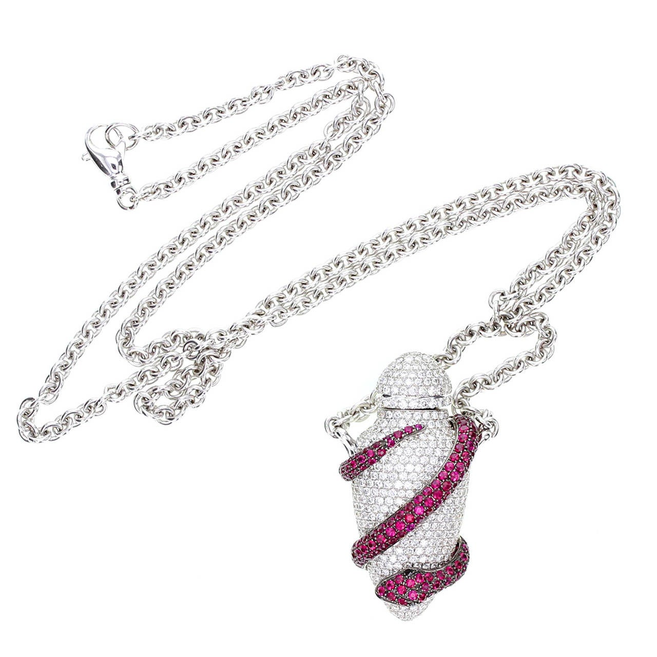 Theo Fennell Ruby Diamond Gold Ampoule Snake Pendant 2