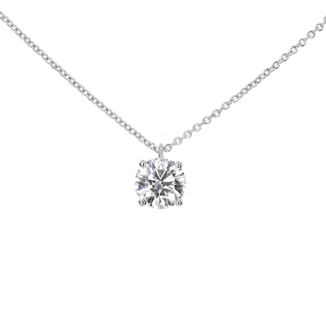 Tiffany & Co. Brilliant Cut Diamond Platinum Pendant For Sale