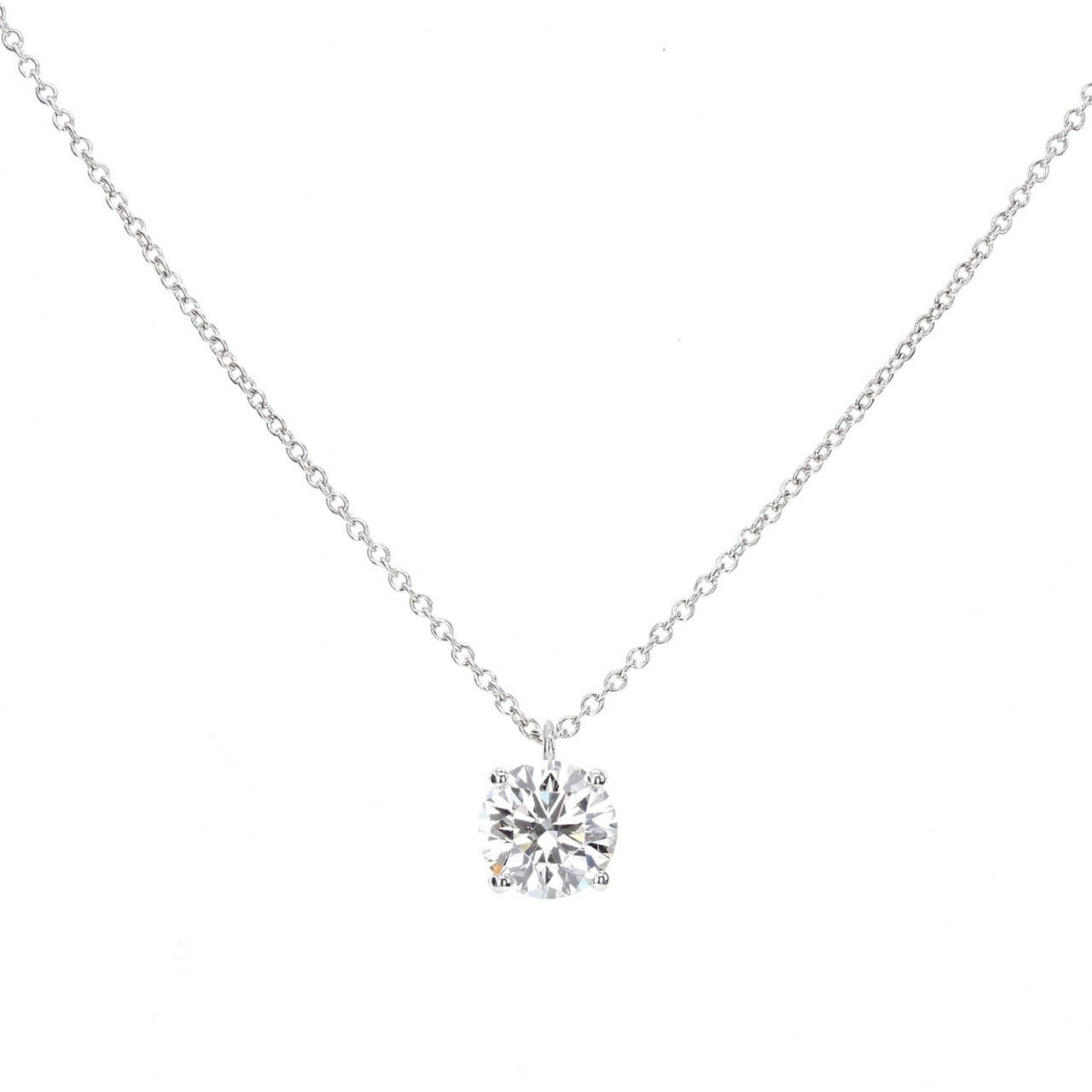 Contemporary Tiffany & Co. Brilliant Cut Diamond Platinum Pendant For Sale