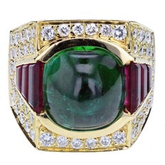 Frederic Parisse Green and Pink Tourmaline Diamond Ring