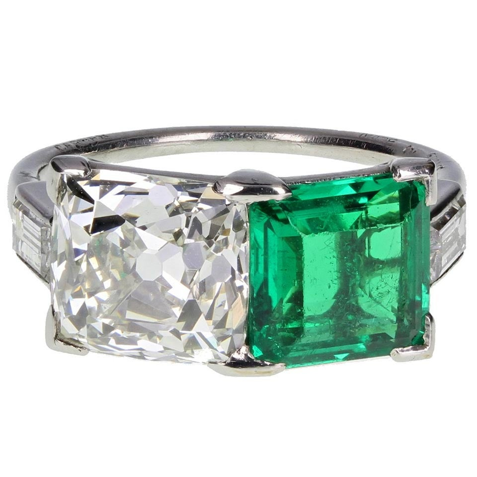 Cartier Antique Colombian Emerald Diamond Two Stone Ring ...