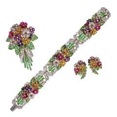 Multi Gem and Diamond 'Tutti Frutti' Floral Parure