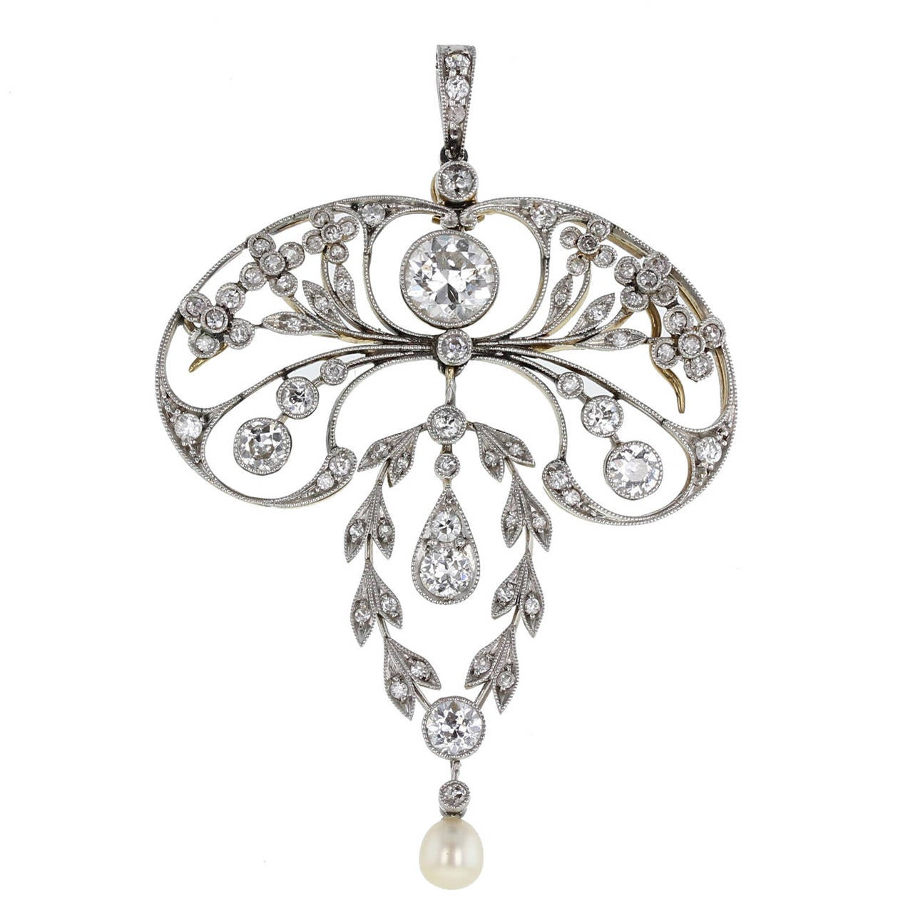 Art Nouveau Natural Pearl Diamond Gold Platinum Pendant For Sale