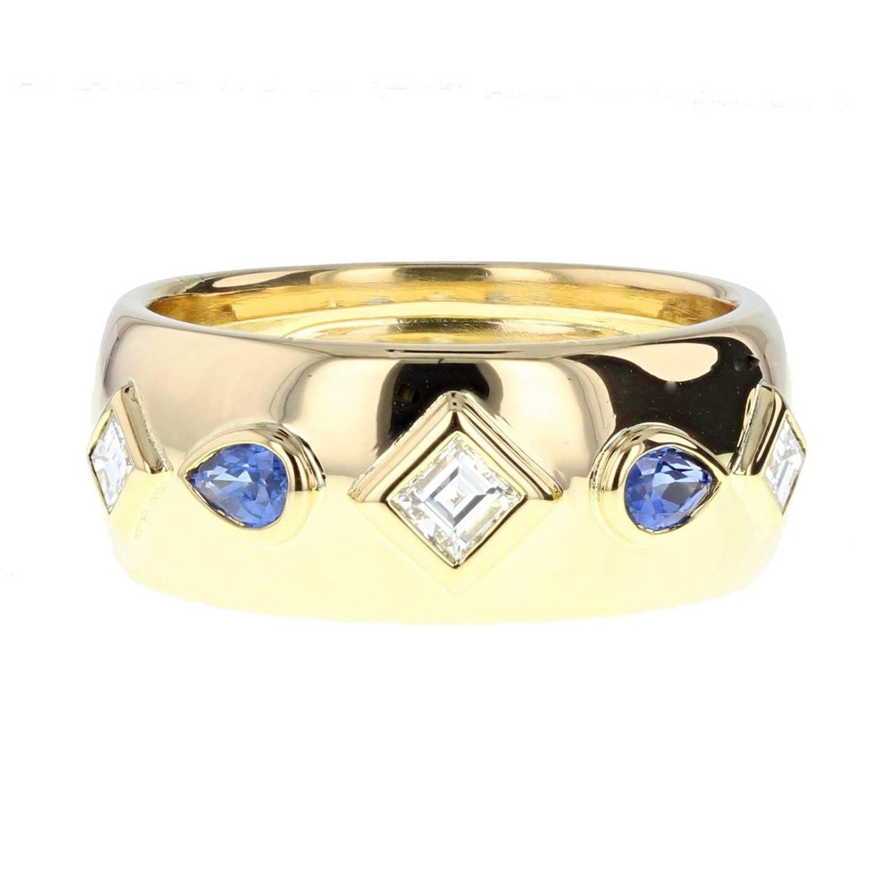 Modern Cartier Sapphire Diamond Gold Parure For Sale