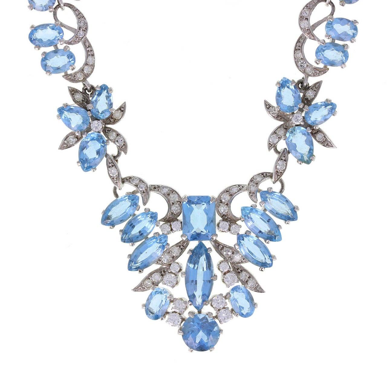 1950s Harrods London Aquamarine Diamond Gold Necklace 2